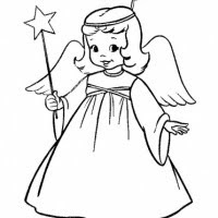 Religious coloring page of Christmas angel