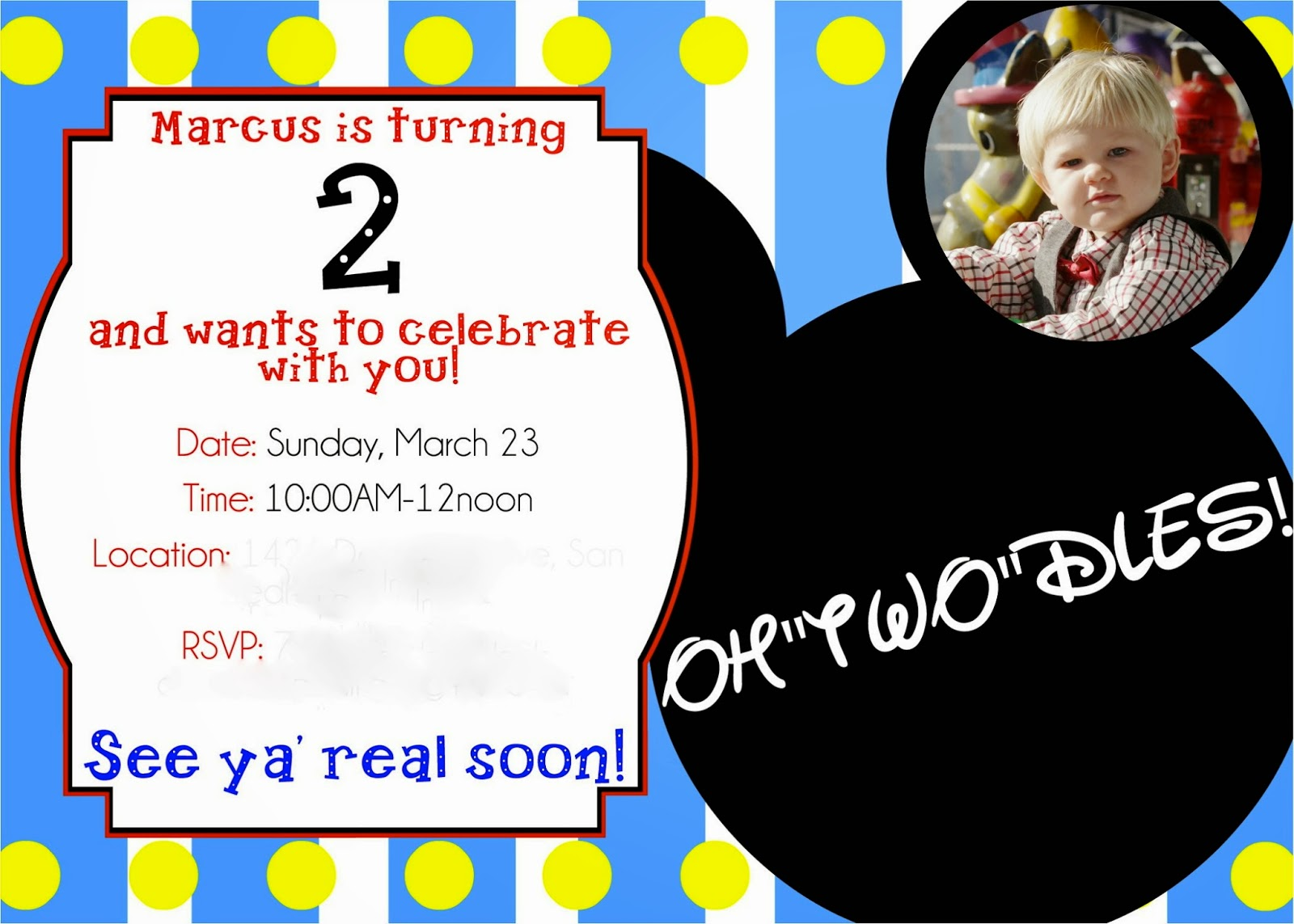 Mickey Mouse Clubhouse Photo Birthday Invitations with adorable invitation example