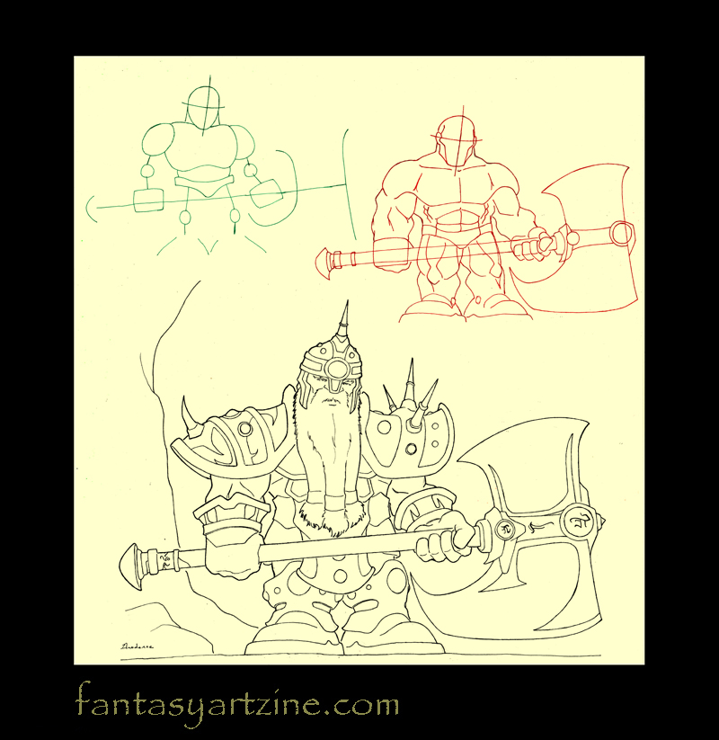How to draw a World of warcraft dwarf warrior with axe and armor.