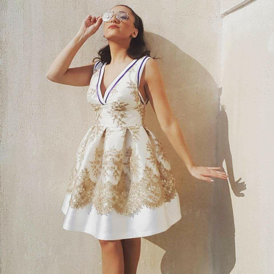 Φορεμα ταφτας με χρυσο κοκτειλ