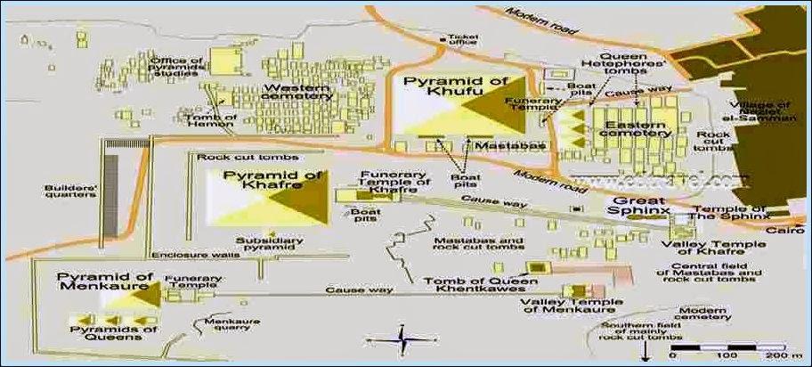 Карта комплекса пирамид Египта
