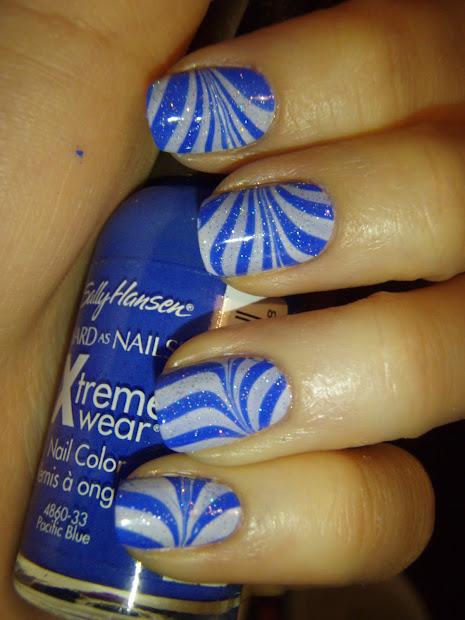 zebra water marble nails tutorial