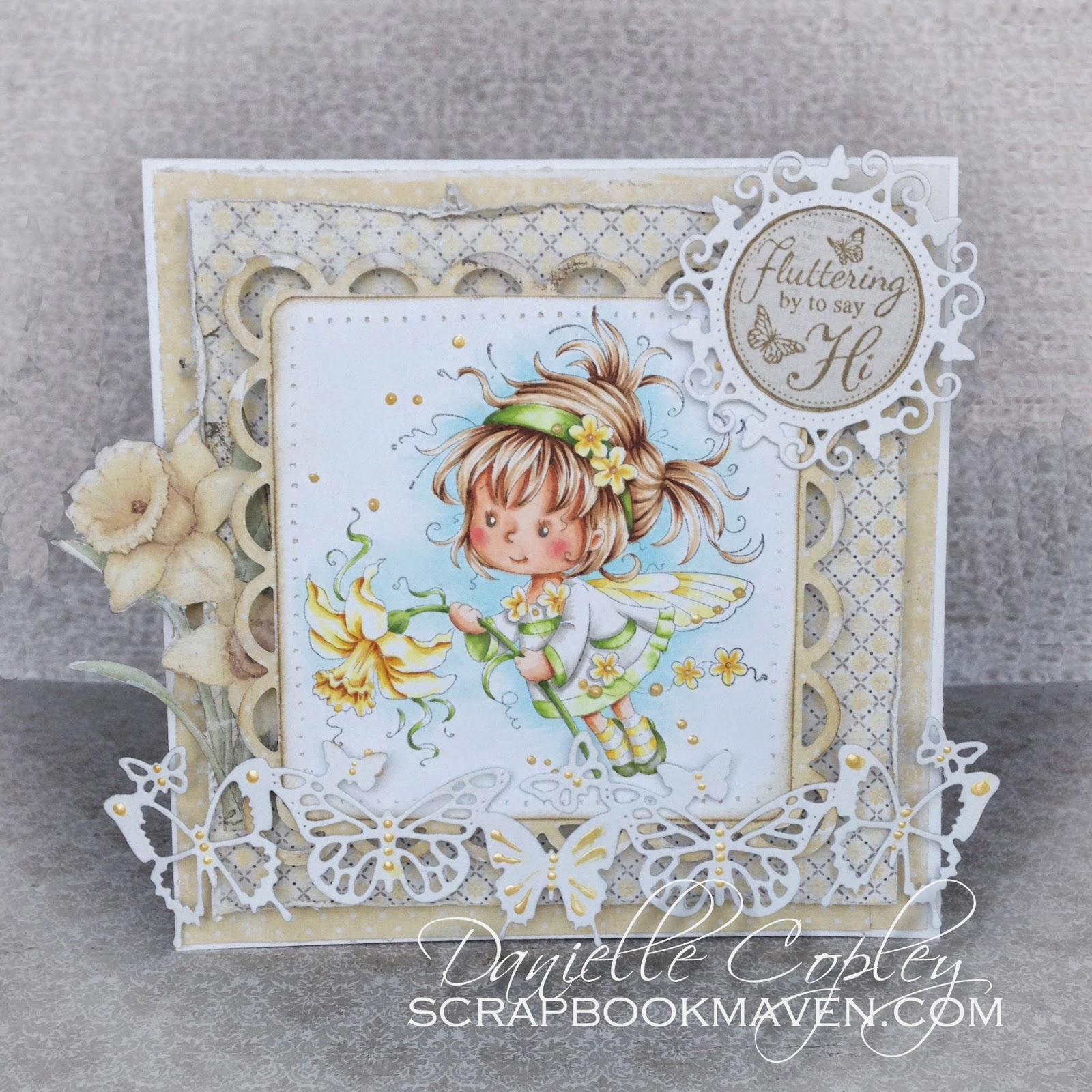 Yellow Spring Daffodil Card using Maja Vintage Spring Basics, Whimsy Wee Stamps Daphne image and Copics for Scrapbook Maven