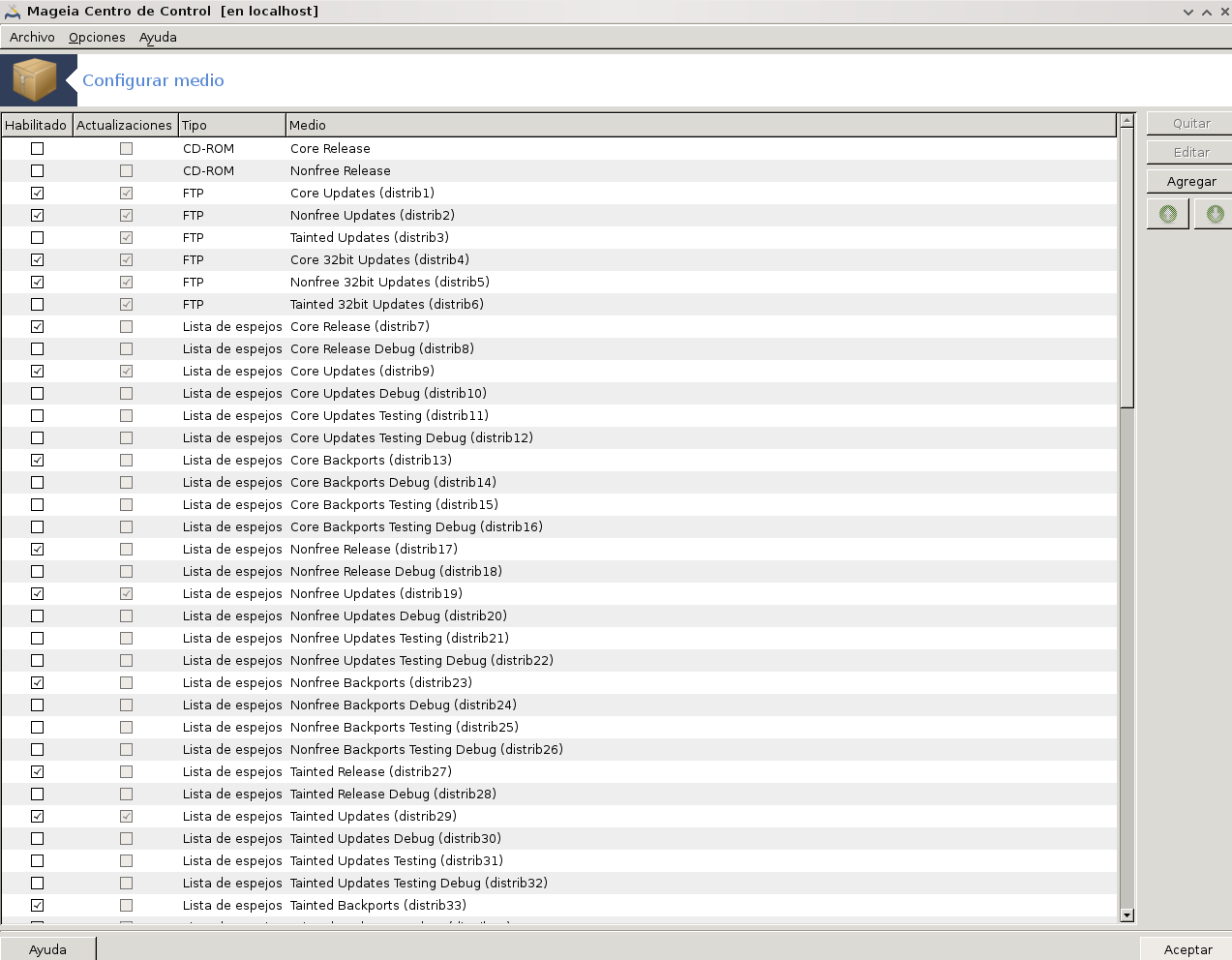medio de configuracion de fuentes mageia 3 agregar repositorios
