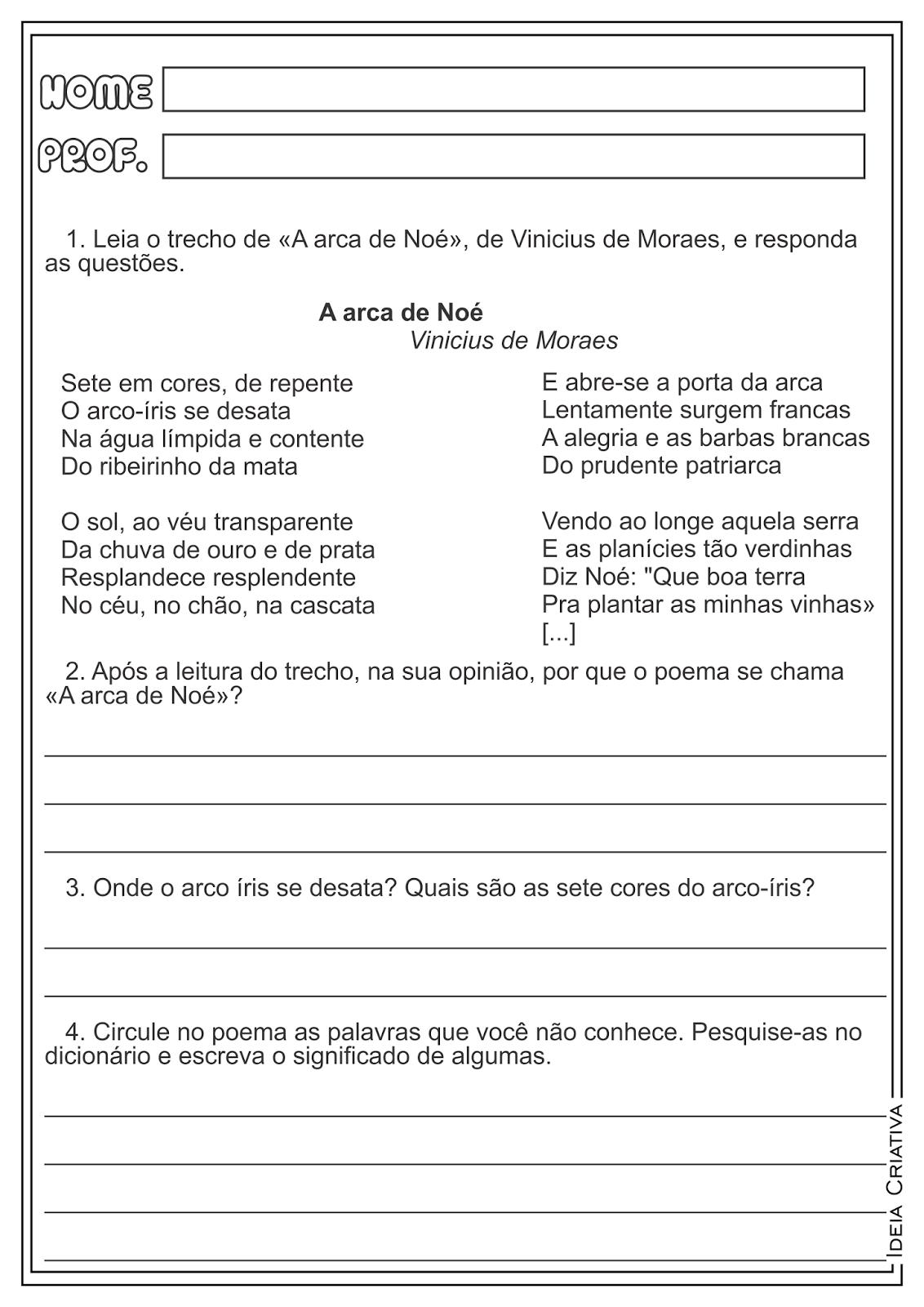 """Interpretação e Produção de Texto """"A arca de Noé"""" Vinicius de Moraes Atividades"""