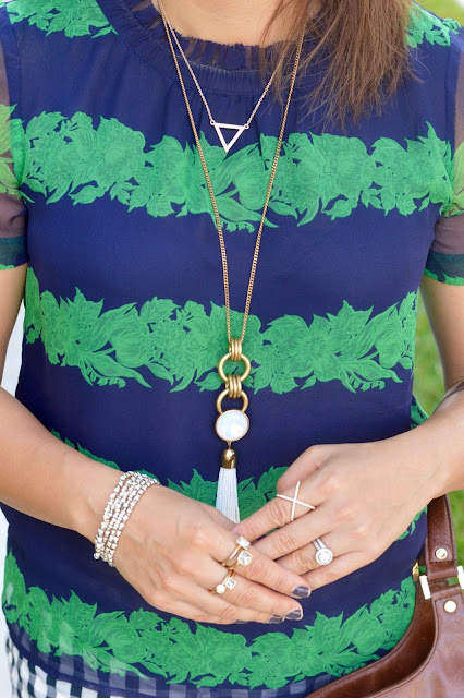 J Crew Medallion Tassel Pendant Necklace, BaubleBar Crystal Mason Ring, layered necklace