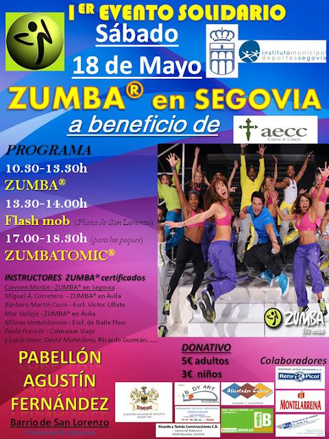 ZUMBA en Segovia cartel evento solidario AECC - mayo 2013