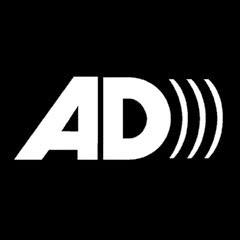 Bold white logo AD, for Audio Description