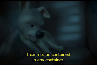 "Bolt the supe-rdog stumbles groggily in a metallic kennel, while proclaiming, ""I can not be contained… in any… container!"""