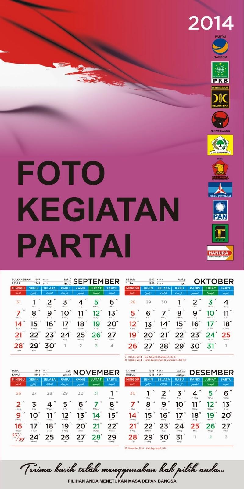 Kalender 2014 Murah dan Eksklusif untuk Kampanye Sosialisasi Partai