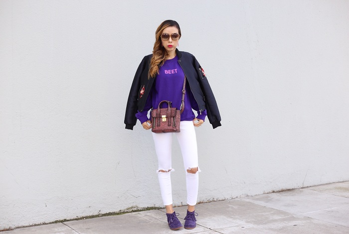 Purple sweatshirt, wildfox sweatshirt, rad sweatshirt, asos skinny jeans, sachin babi floral bomber jacket, 31 phillip lim mini pashli bag, Hush puppies Cyra Catelyn Chukka Bootie, swarovski amazing sunglasses, kendra scott earrings, holiday outfit, casual outfit, xmas sale