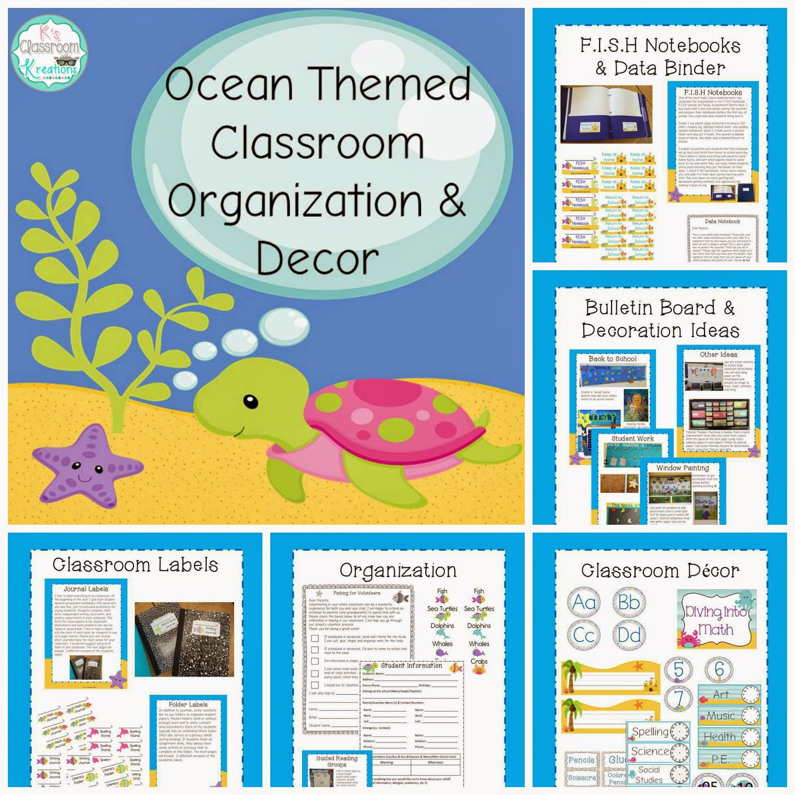http://www.teacherspayteachers.com/Product/Ocean-Themed-Classroom-Decor-Organization-1384675