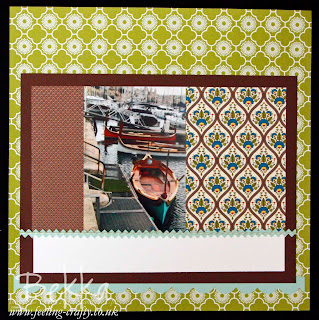 Scrapbook Page featuring the International Bizarre Papers from Stampin' Up!  Part of the Feeling Crafty Scrapbook Club Kit - check out how to get at least three pages each month from this great value kit