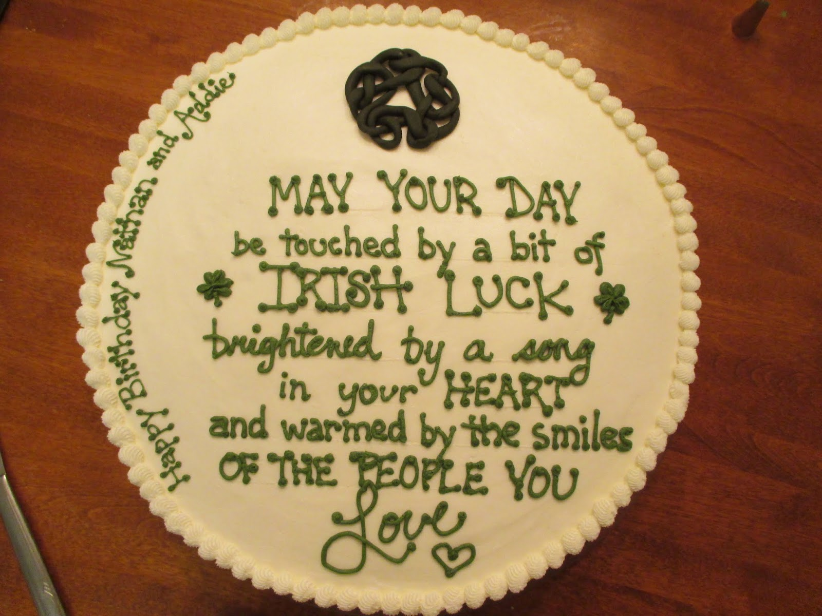 Dwyers Farmhouse The Irish Blessing Birthday Cake