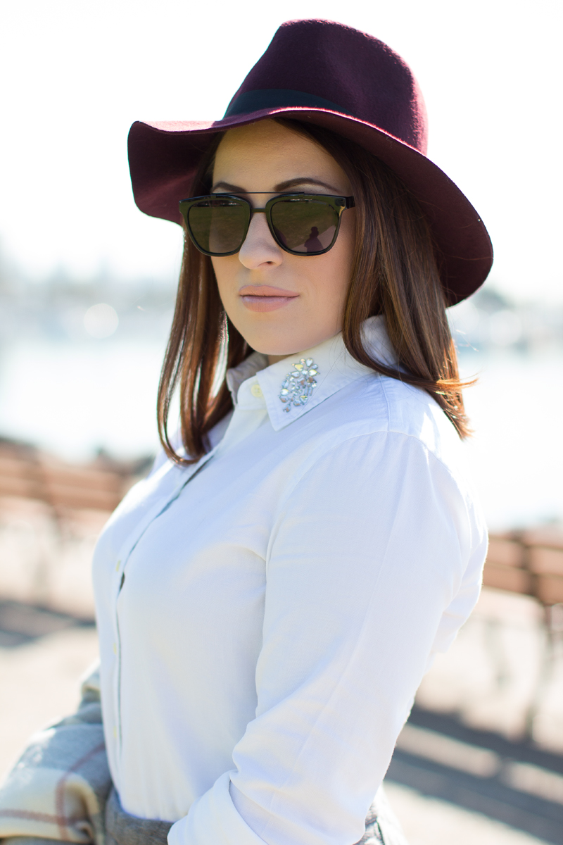 carrera 6002 browbar sunglasses, burgundy felt hat, embellished shirt