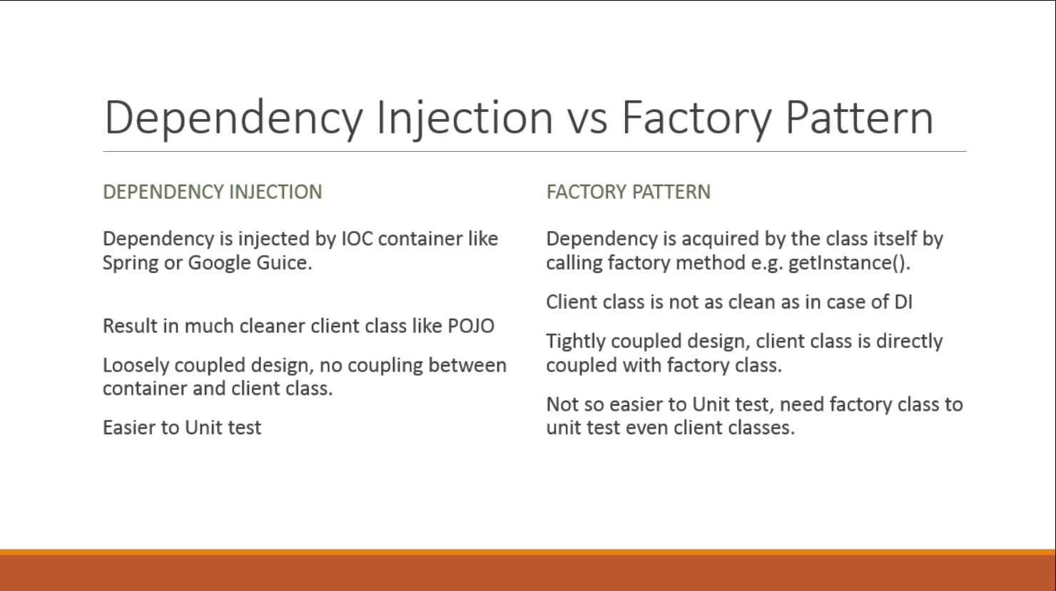 Factory Design Pattern Vs Dependency Injection