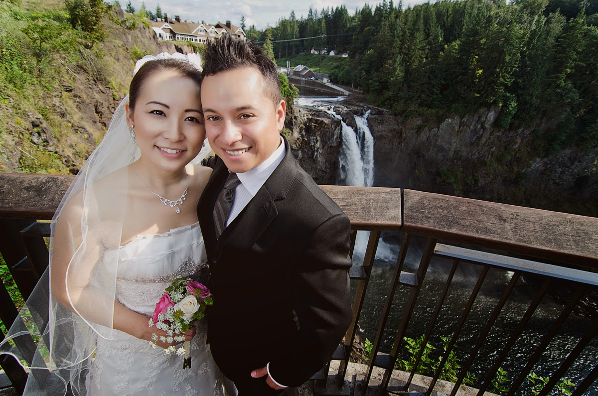 Luis and Miki's wedding photo at Snoqualmie Falls - Kent Buttars, Seattle Wedding Officiant