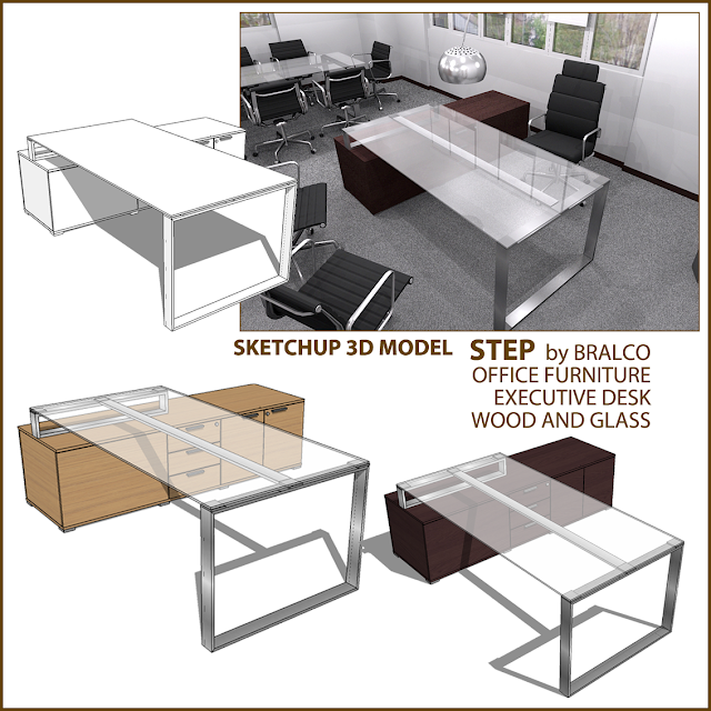 free sketchup model executive desk