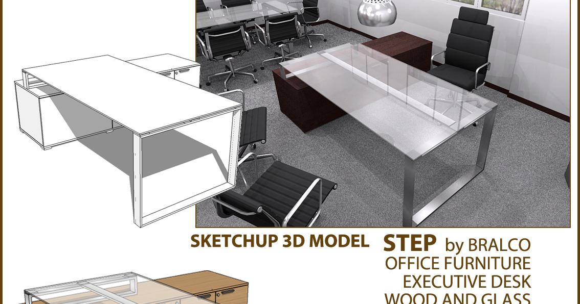 sketchup texture  3d model office furniture executive desk