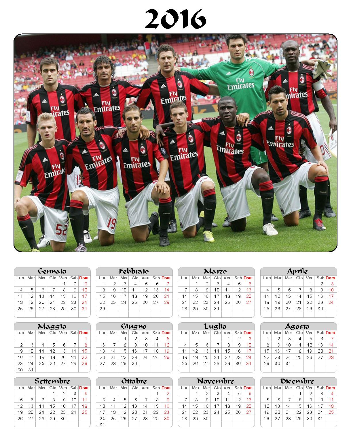 calendario 2016 - mensile - annuale - milan