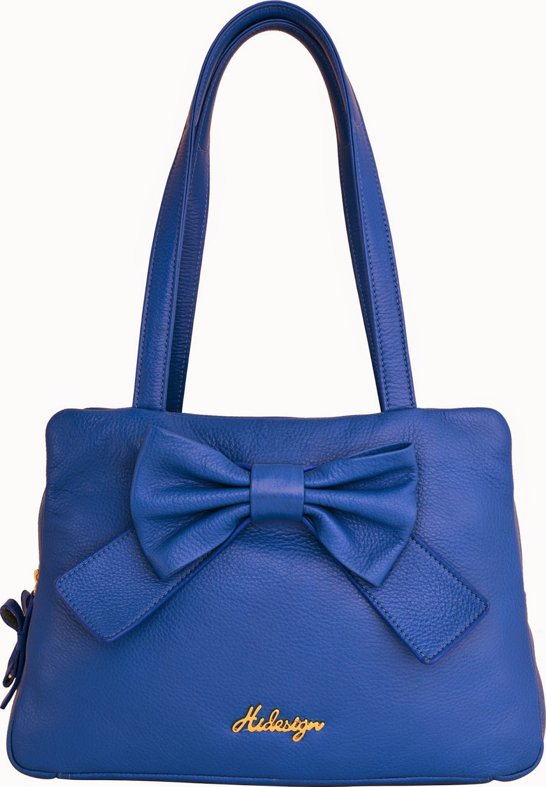 Hidedesign bag blue with a bow
