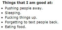 Things that I am good at: