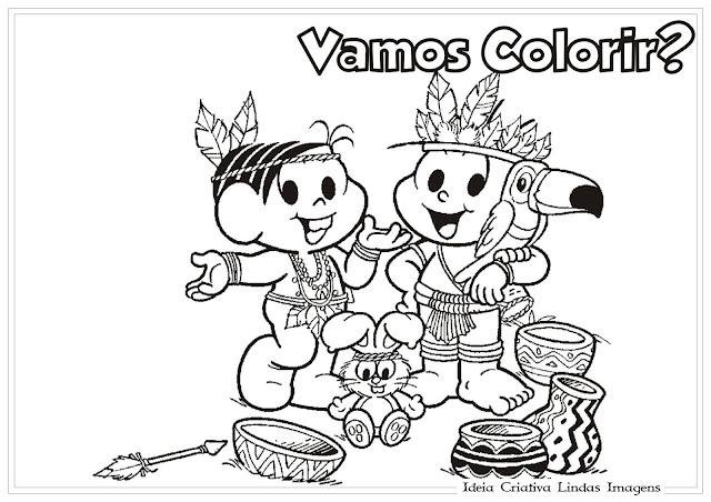 Desenho de Dia do Índio/Turma da Mônica para colorir
