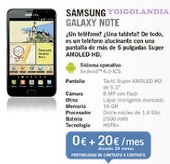 Samsung Galaxy Note por 0 euros mas pago a plazos febrero yoigo