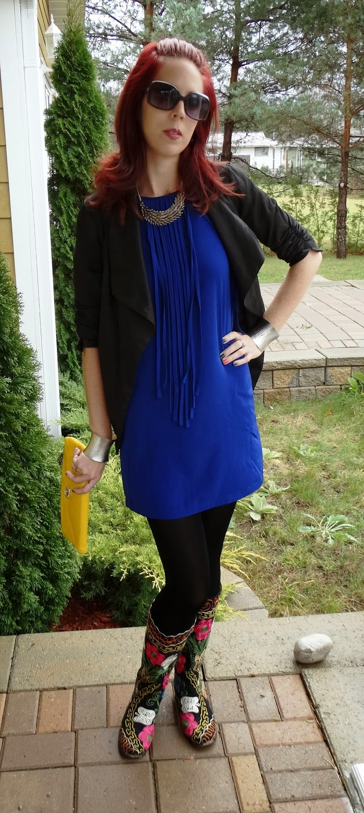 Forever 21 Deep Blue Fringe Top, Zohara Tights, Costa Blanca Jacket, Shop For Jayu Angel Necklace, Vintage Yellow Purse, H&M Sunglasses, fashion fashion blogger Toronto The Purple Scarf Melanie.ps