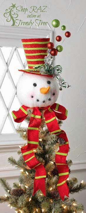 http://www.trendytree.com/raz-christmas-and-halloween-decor/raz-195-snowman-head-tree-topper-red-lime-green.html