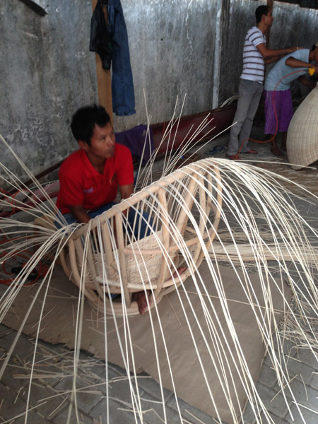 Rattan weaving on a chair 