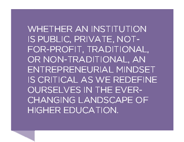 Whether an institution is public, private, not-for-profit, traditional, or non-traditional, an entrepreneurial mindset is critical as we redifine ourselves the ever-changing landscape of higher education.
