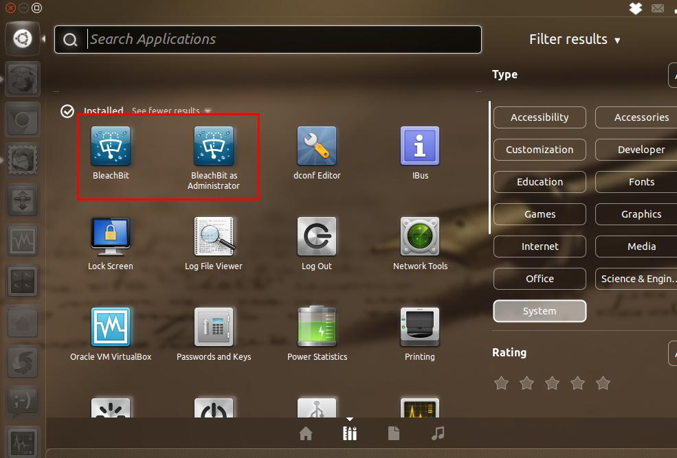 Mengakses BleacBit lewat Unity Dash