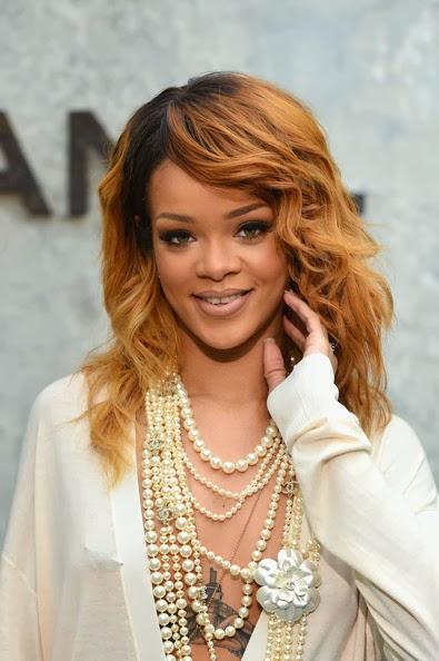 Rihanna Long Wavy Cut Hairstyles