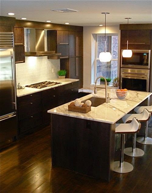 Designing home thoughts on choosing dark kitchen cabinets for Dark wood cabinets small kitchen