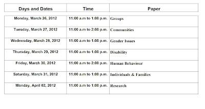 BSW 2012 Exam , B.S.W. 2012 Exam