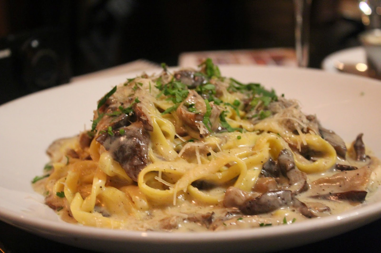Linguine with black truffle cream at Orta, Pembroke, Mass.