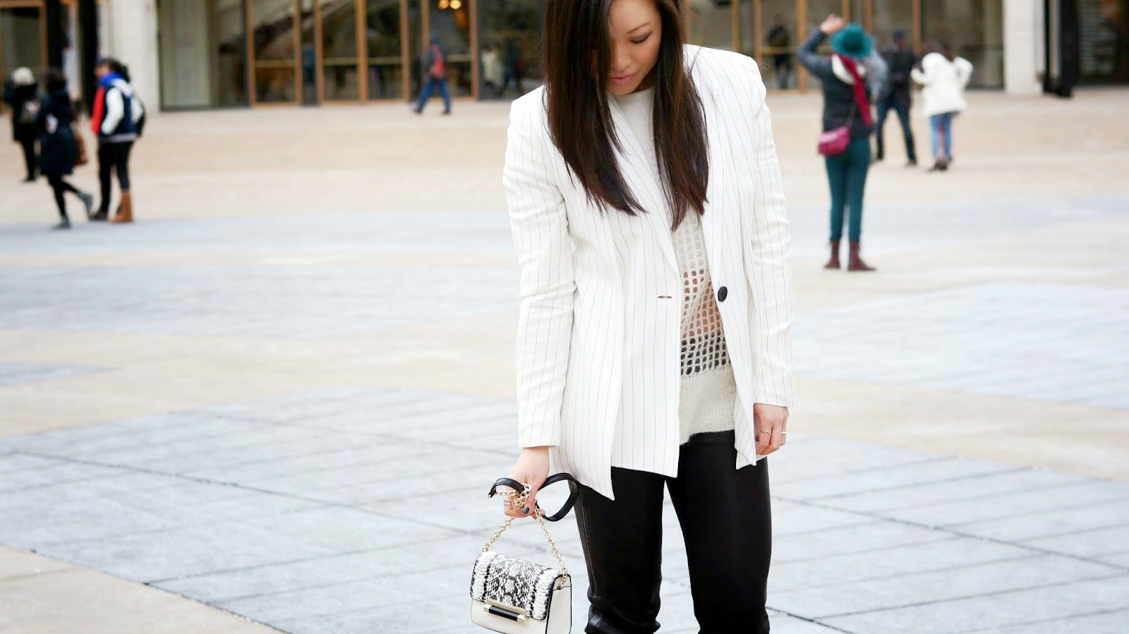 white blazer pinstripes and leather pants NYFW snapshots of my closet
