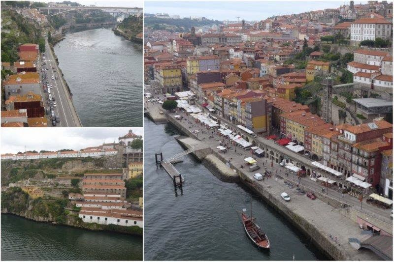 Río Duero y Barrio de Ribeira en Oporto, Portugal