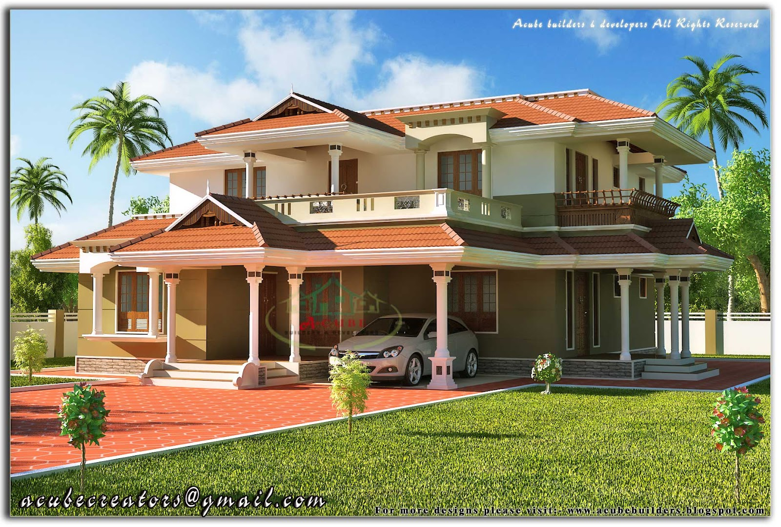 Beautiful kerala style 2 storey house 2328 sq ft plan for Beautiful model house