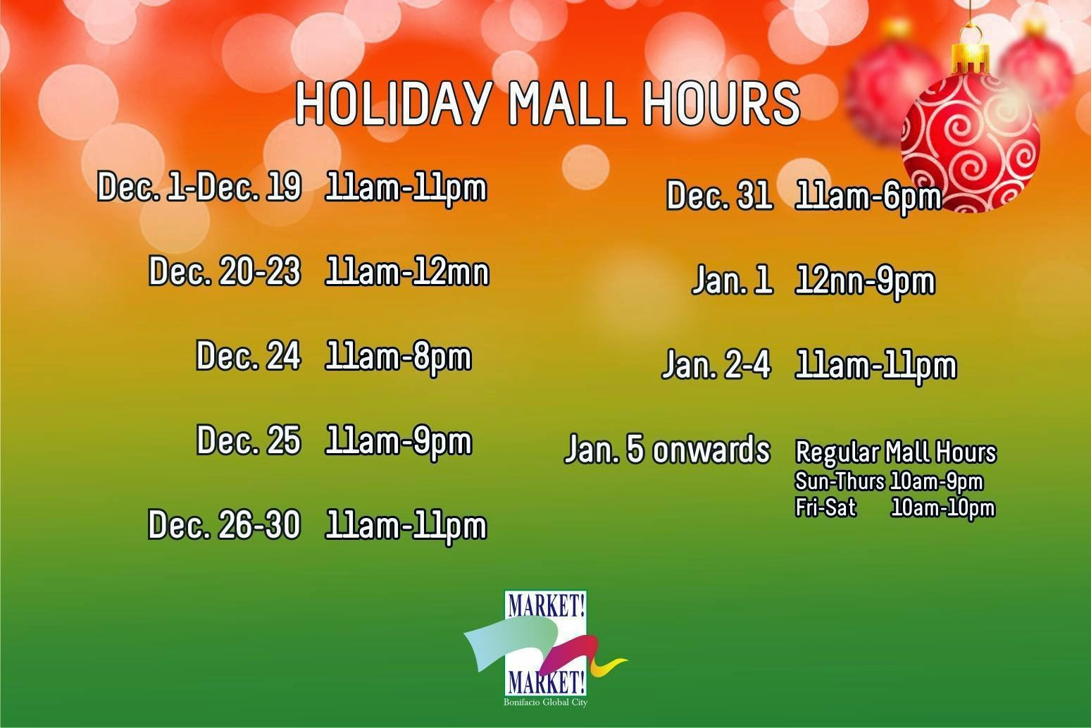 Market Market Holiday mall Hours