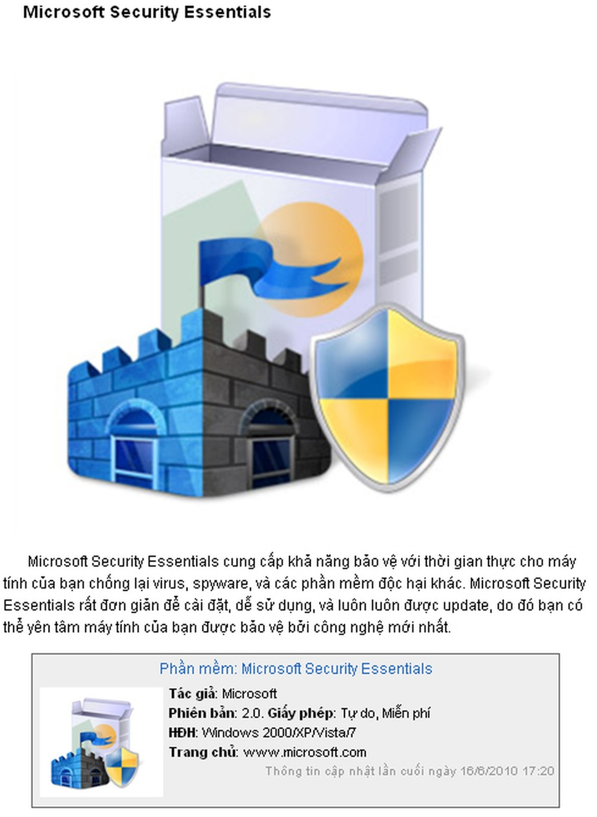 Microsoft Security Essentials free Download for Windows PC