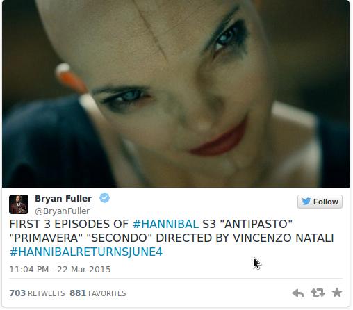 Брайан Фуллер пролил свет на режиссеров Ганнибала 3.