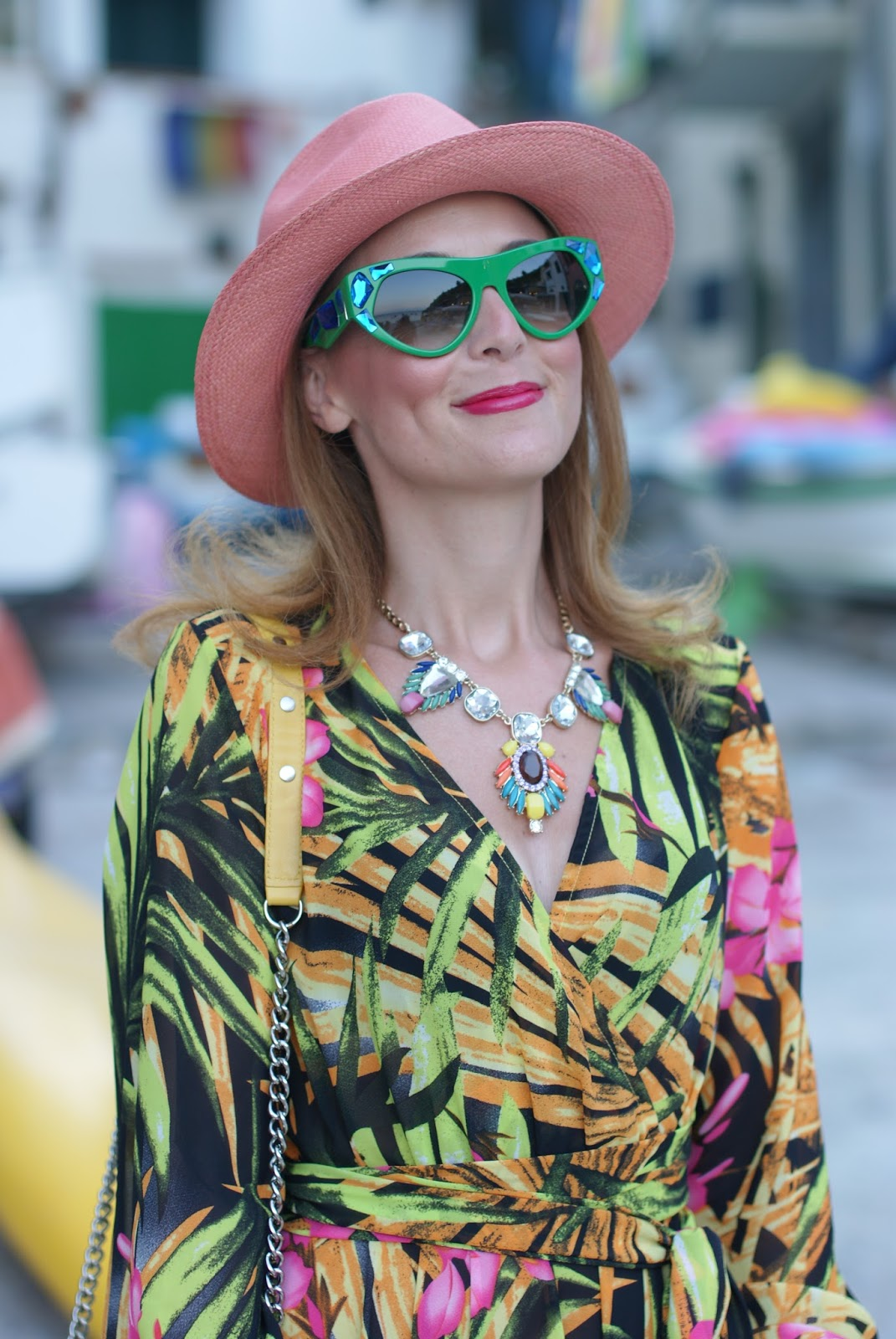 prada voice sunglasses found on giarre dot com, tropical print chiffon maxi dress, ecua-andino hat for a summer boho style on Fashion and Cookies fashion blog, fashion blogger style