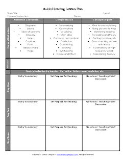 Click here to download the Guided Reading Lesson Plan