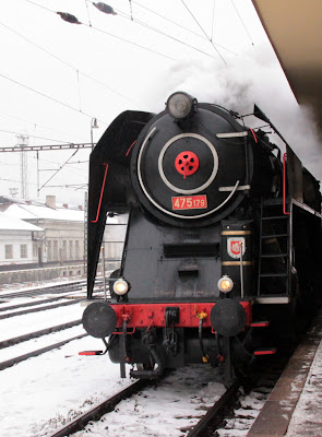 steam train arrives in Smichov train station, Prague Czech Republic