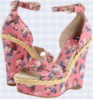 dg pink floral wedges