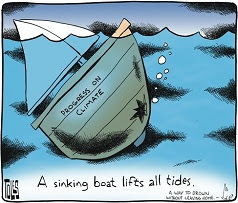 Tom Toles: A sinking boat lifts all tides.