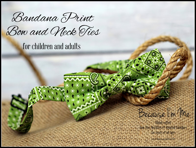 green bandana print bow tie for men and boys