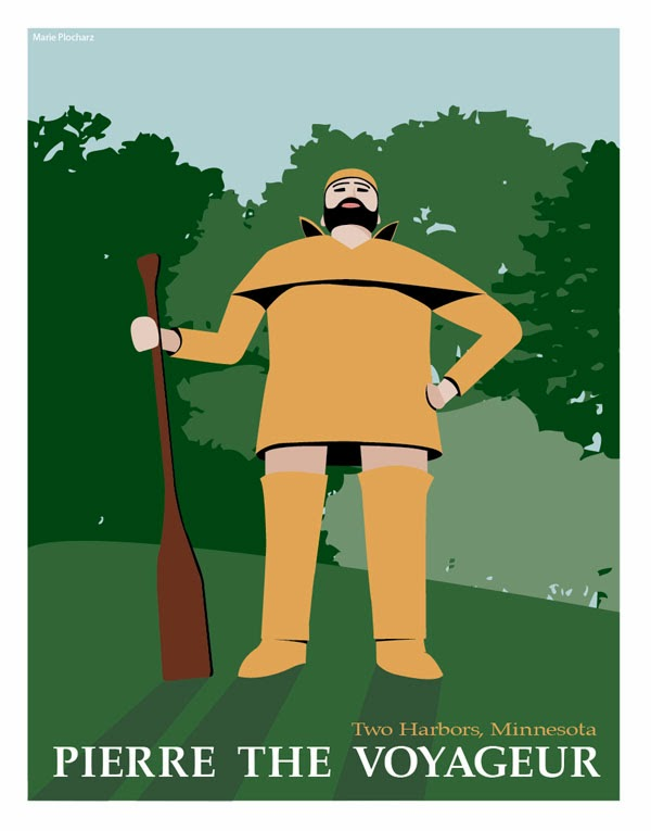 Pierre The Voyageur Two Harbors Minnesota - MN Roadside Attraction Travel Poster